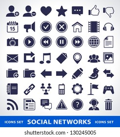 Vector set of simple social network icons.