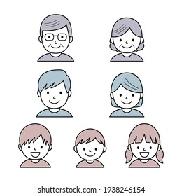 Vector set of simple three generation family icons