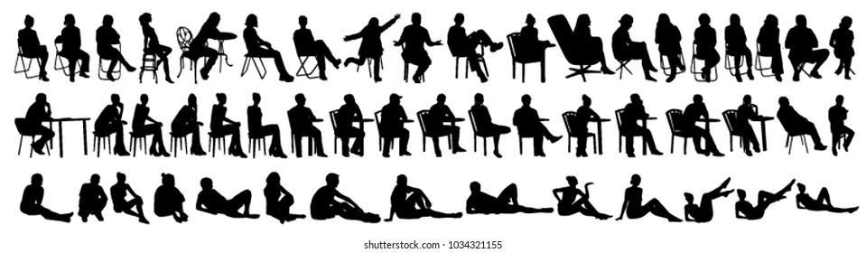 Vector set of sitting people