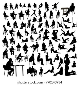 Vector set of sitting people silhouettes