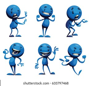 Vector set of six cartoon images of funny little blue men with different actions and emotions on a white background. Positive character, creature. Vector illustration.