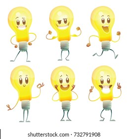 Vector set of six cartoon images of funny yellow light bulbs with faces, with different actions and emotions on a white background. Idea, light, business. Positive character. Vector illustration.