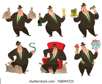 Vector set of six cartoon images of funny fat men capitalists in black suits and hats with different actions and emotions on a white background. Business, finance, monopoly, money.
