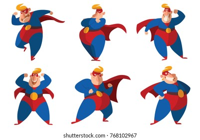 Vector set of six cartoon images of funny fat superheroes in red-blue suits, cloaks and red masks, with different actions and emotions on a white background. Superhero, savior, comic, hero.