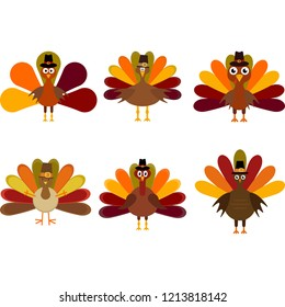 Vector set of a six colorful thanksgiving turkeys