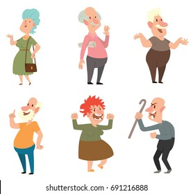 Vector set of six different funny old men and old women in various clothes with different actions and emotions on a white background. Retired, elderly. Vector illustration.