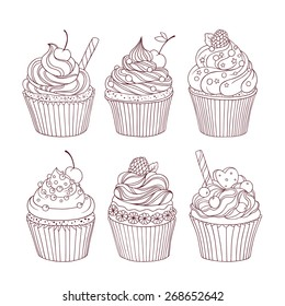 Vector set of six hand drawn outlined cupcakes. Monochrome. Use for wedding, birthday invitations, web page background, surface textures, menu, and other.