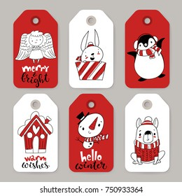 Vector set of six holiday Christmas tags with cartoon characters angel, rabbit, penguin, dog, snowman and dog and holiday calligraphy.