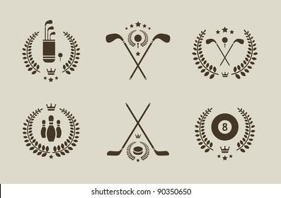 Vector set of six professional sport emblems