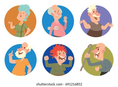 Vector set of six round frames with different funny old men and old women in various clothes with different actions and emotions on a white background. Retired, elderly. Vector illustration.