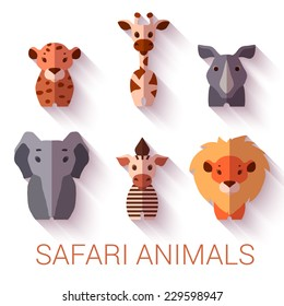 Vector set of six Safari animals on white background.