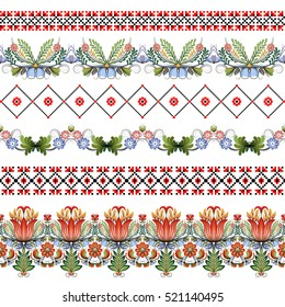 Vector set of six seamless borders. Style of Petrykivka and embroidery stitch in red and black. Traditional Ukrainian ornamental folk art.