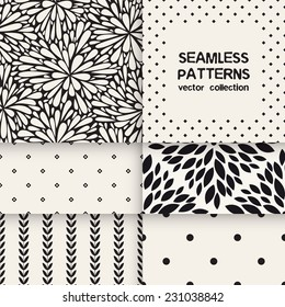 Vector set of six seamless patterns. Floral and polka dots repeating backgrounds. Monochrome collection