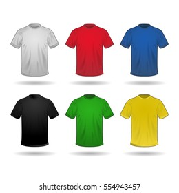 Vector set of six T-shirts in different colors: white, red, blue, black, green and yellow colors