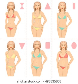 Vector set from six types of woman bodies