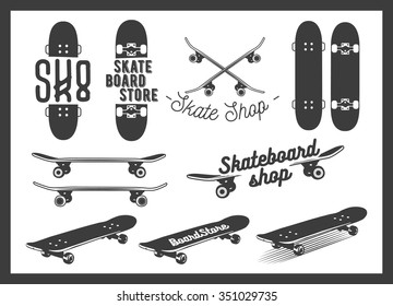 Vector set of skateboard emblems, labels, badges and design elements. Skateboarding concept illustration in monochrome style.