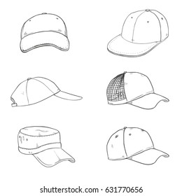 Vector Set of Sketch Baseball Caps. Side and Front Views.