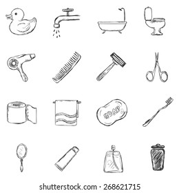 Vector Set of Sketch Bathroom and Hygiene Icons.