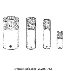 Vector Set of Sketch Batteries - C, AA, AAA, A23.