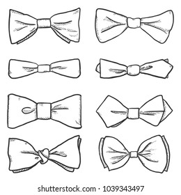 Vector Set of Sketch Bowties. Different Types Collection.