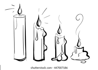 Vector Set of Sketch Candles. Process of Candle Burning. vector illustration isolated on a white background