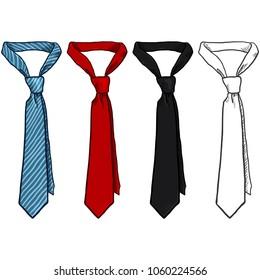 Vector Set of Sketch and Cartoon Color Neckties. Office Accessory.