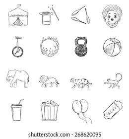 Vector Set of Sketch Circus Icons