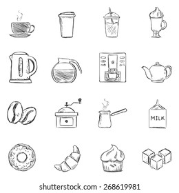 Vector Set of Sketch Coffee Icons. Icons for Coffee Shop.