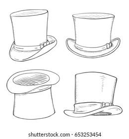 Vector Set of Sketch Cylinder Hats on White Backround