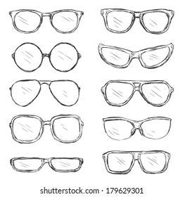 Vector Set of Sketch Eyeglass Frames
