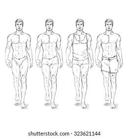 Vector Set of Sketch Fashion Male Models in Underwear