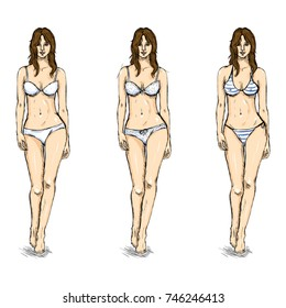 Vector Set of Sketch Female Models. Underwear.