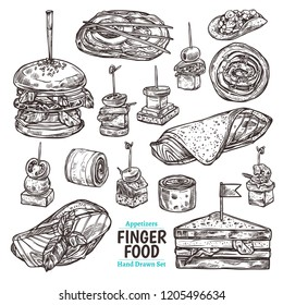 Vector set of sketch finger food. Different kind of snacks, appetizer, canapes, seafood. Hand drawn collection of illustrations for café, restaurant or menu