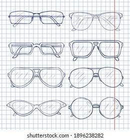 Vector Set of Sketch Glasses. Eyeglass Frames.
