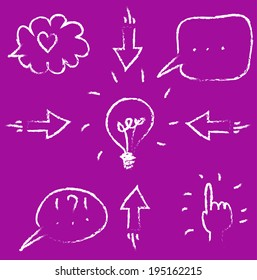 vector set of sketch hand-drawn chalk icons: bulb, hand, arrows, cloud, heart