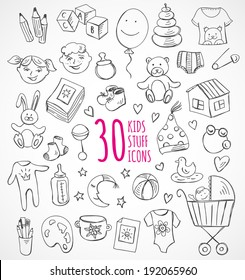 Vector set of sketch icons kids children baby stuff clothes toys
