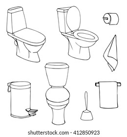 vector set of sketch illustration of toilets isolated on a white background. Contour  silhouettes of paper ,  trash can , towel
