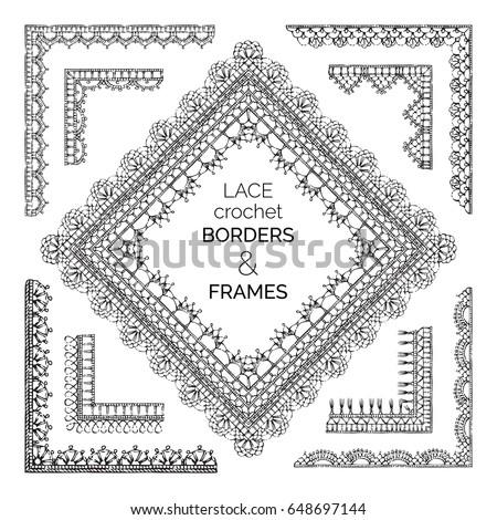 Vector Set Sketch Lace Crochet Borders Stock Vector Royalty Free
