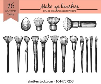 Vector set with sketch Makeup brushes on the white background