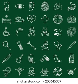 Vector Set of Sketch  Medicine Icons. Chalk on a Blackboard.