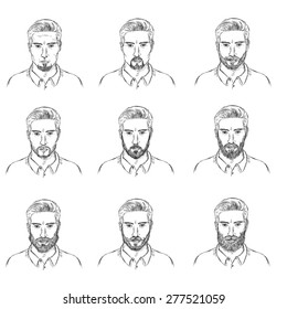 Vector Set of Sketch  Mens Faces with Beards. Types of Beards