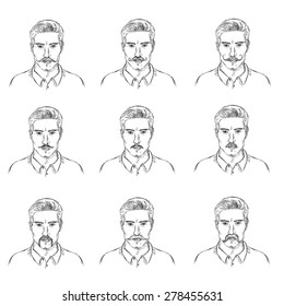 Vector Set of Sketch  Mens Faces with Mustaches. Types of Mustaches.