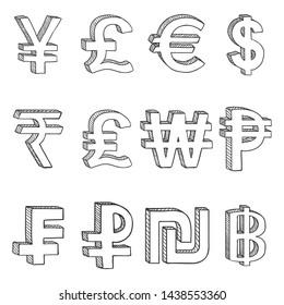 Vector Set of Sketch Modern Currency Symbols