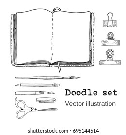 Vector Set of Sketch Notebooks, Notepads and Diaries. Office stuff. Doodle writing supplies, pen, pencil, scissors. Hand drawn illustration. Cool design elements for infographic. School
