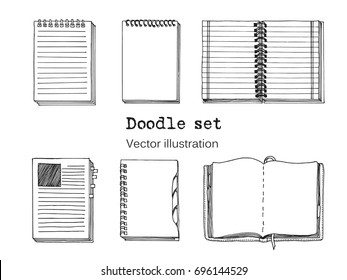 Vector Set of Sketch Notebooks, Notepads and Diaries. Office stuff set. Hand drawing sketch vector illustration. Cool design elements for infographic, web design, background. School