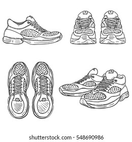 Vector Set of Sketch Running Shoes. Top, Side and Front Views.