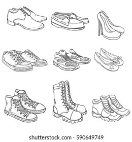 Vector Set of Sketch Shoes Items on White Background