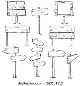 Vector Set of Sketch Signposts