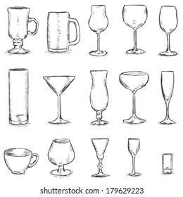 Vector Set of Sketch Stemware