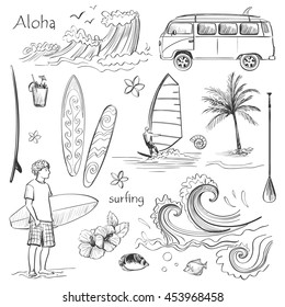 Vector set of sketches on the theme of surfing. Isolated objects on a white background .